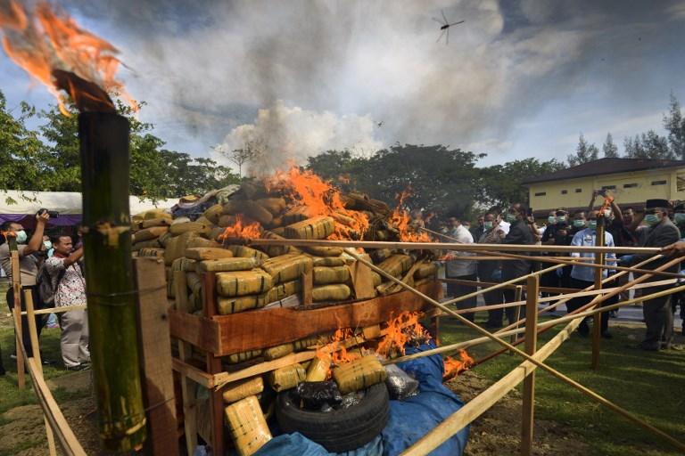 Indonésie : la police brûle une montagne de marijuana