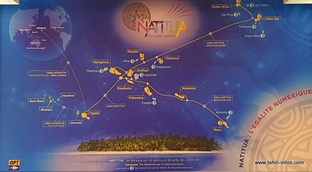 Les dix autres îles et atolls (en bleu sur la carte) seront connectés vers la fin du premier semestre 2019.