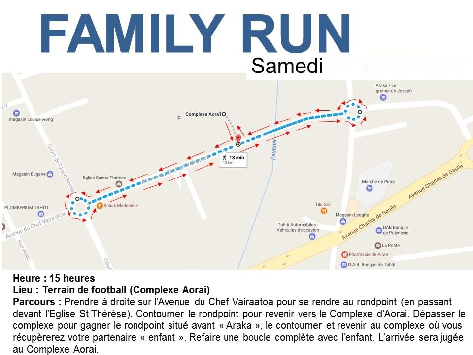 "Le plan de la course ""Family Run""."