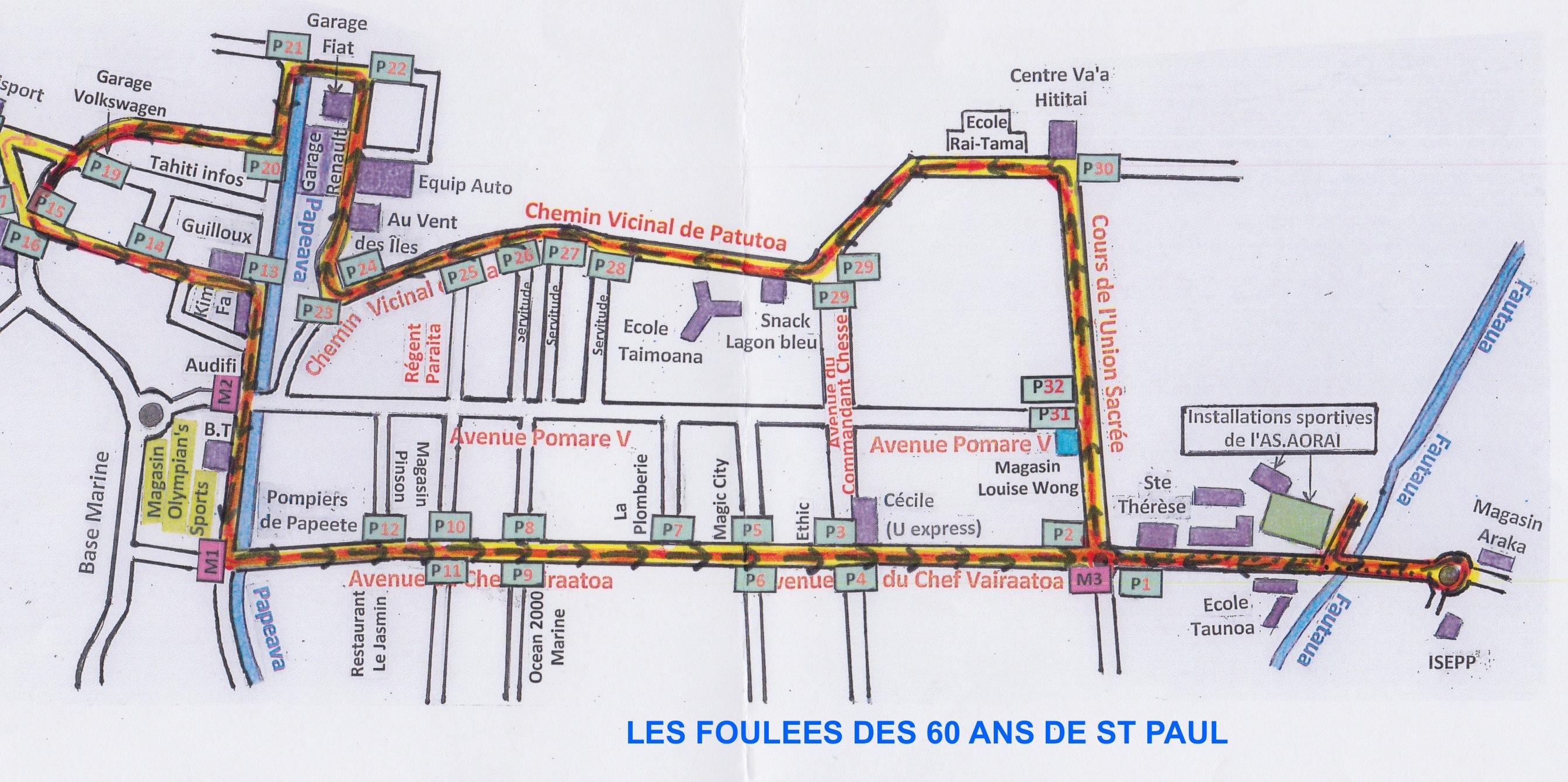 Le plan des foulées des 60 ans de St Paul.