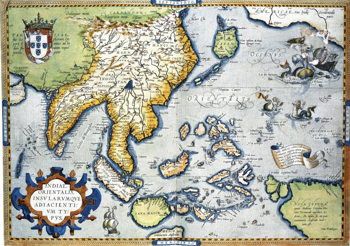 En 1570, grâce aux expéditions espagnoles dans le Pacifique, voici la carte de la région, document qu'avait pu établir Abraham Ortelius.