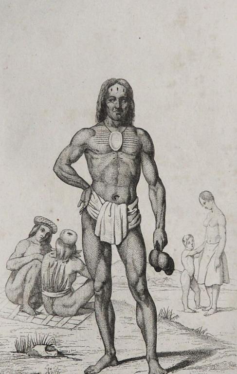 Une gravure ancienne représentant un Salomonais, comme ceux que rencontrèrent les Espagnols à la fin du XVIe siècle.
