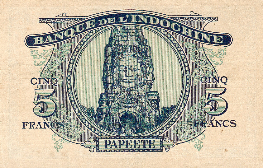 Billet de la banque de l'Indochine. Impression australienne 1944 - Verso (Collection privée).