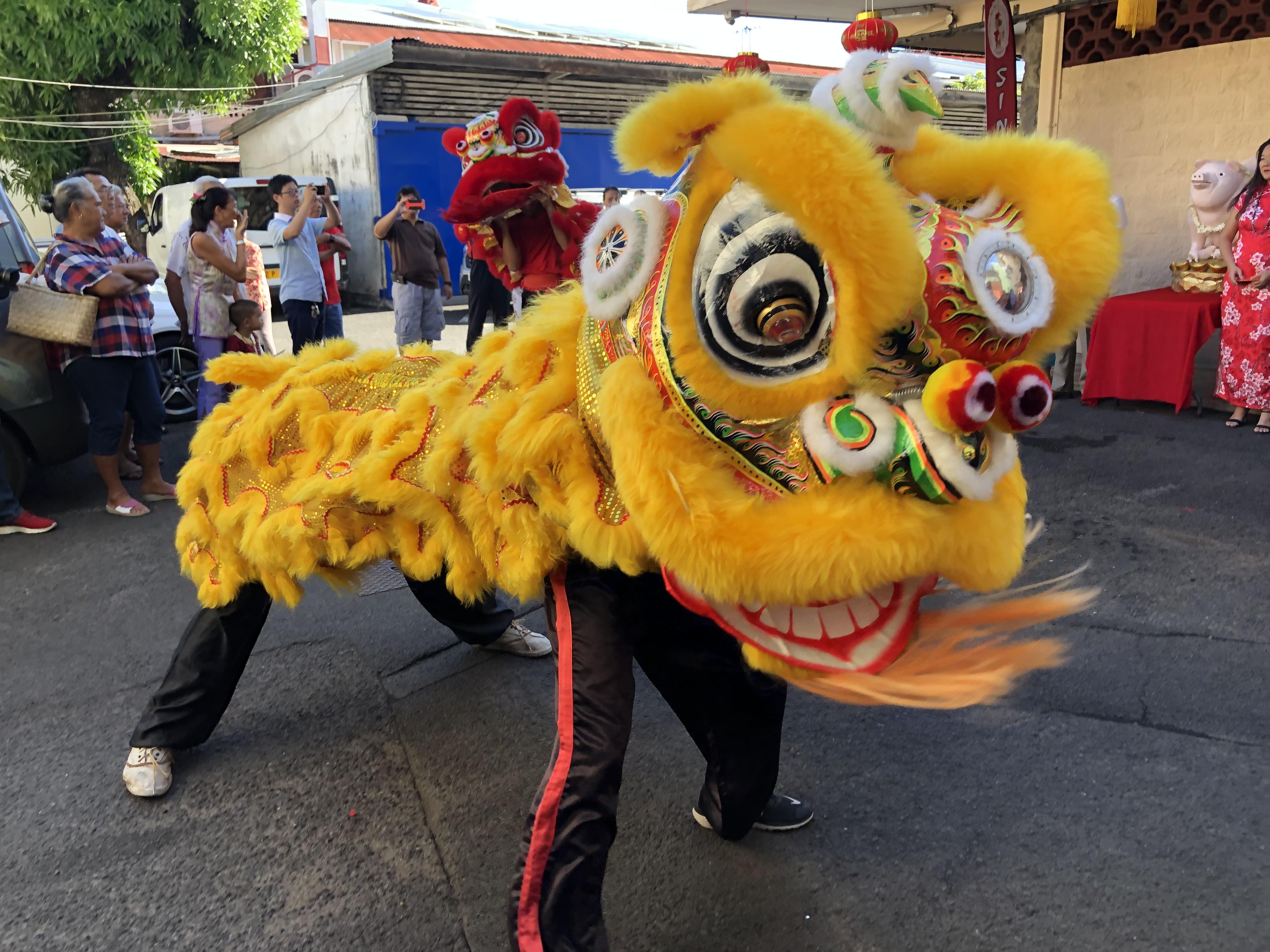 Les lions ont exécutés leurs danses pour chasser les mauvais esprits au rythme des cymbales et des tambours.