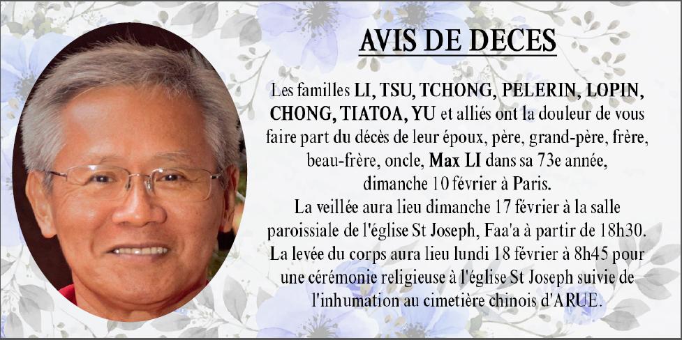 Décès de Monsieur Max LI