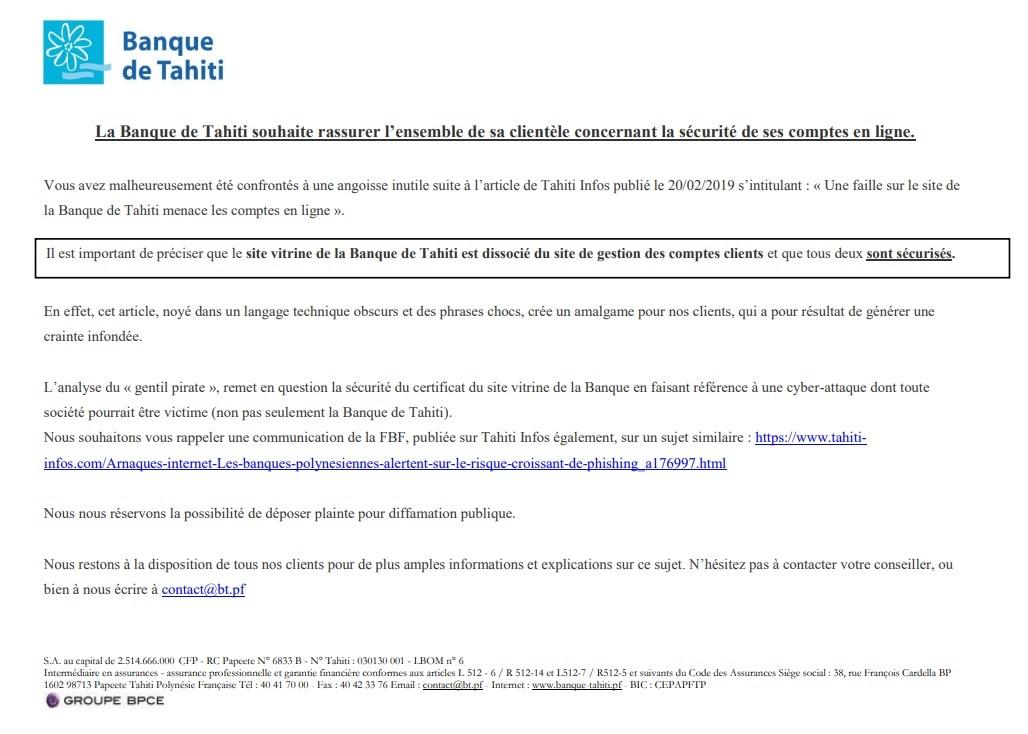 Une faille sur le site de la Banque de Tahiti menace les comptes en ligne
