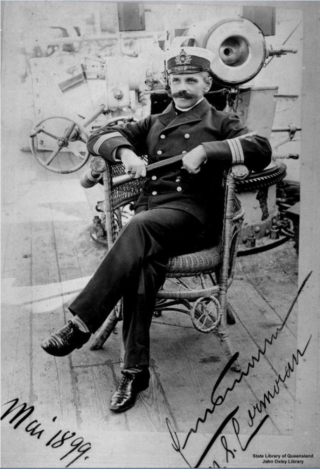 Une photo d'Hugo Emsmann, alors commandant du célèbre croiseur allemand SMS Cormoran.
