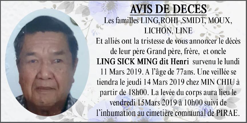 Décès de Monsieur LING SICK MING Henri