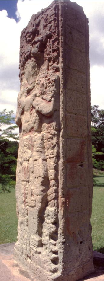 Copan est célèbre dans le monde maya pour ses stèles magnifiant, en textes et en images, les hauts faits des rois de la cité.