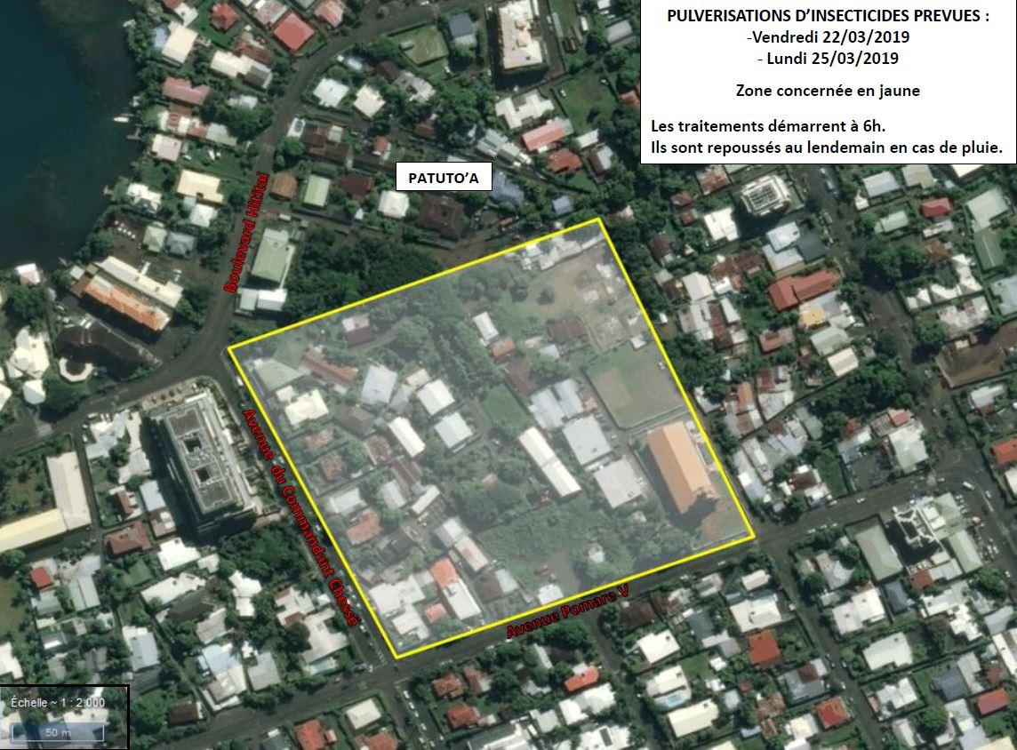 Le secteur de Patutoa, à Papeete, où réside le cas de dengue type 2 récemment recensé.