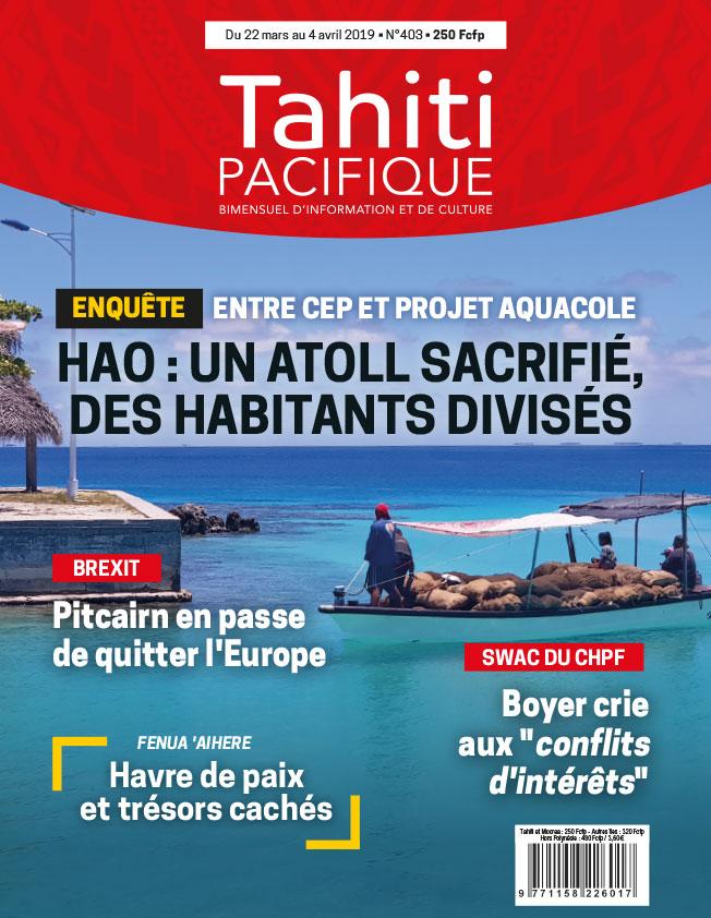 À la Une de Tahiti Pacifique, vendredi 22 mars