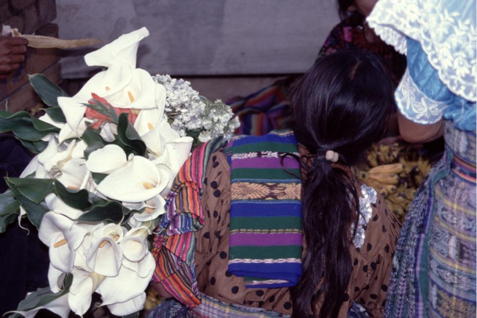 Peinture de Diego Ribera ? Plus simplement une Tzutuhil sur le marché de Santiago, avec une brassée d'arums.