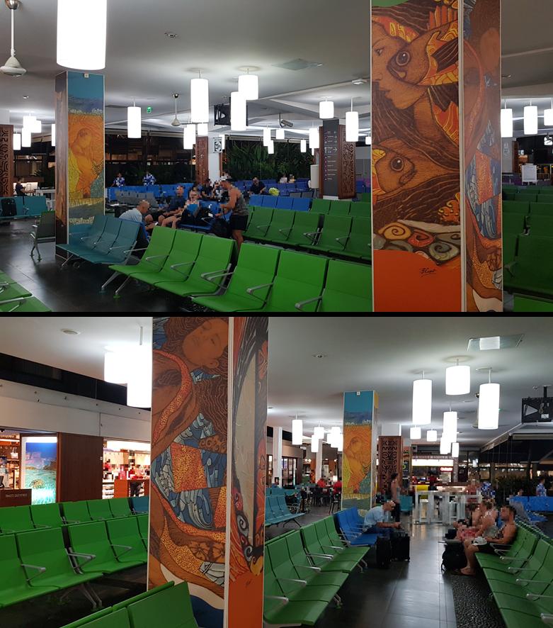 La salle d'embarquement de l'aéroport transformée en galerie d'art