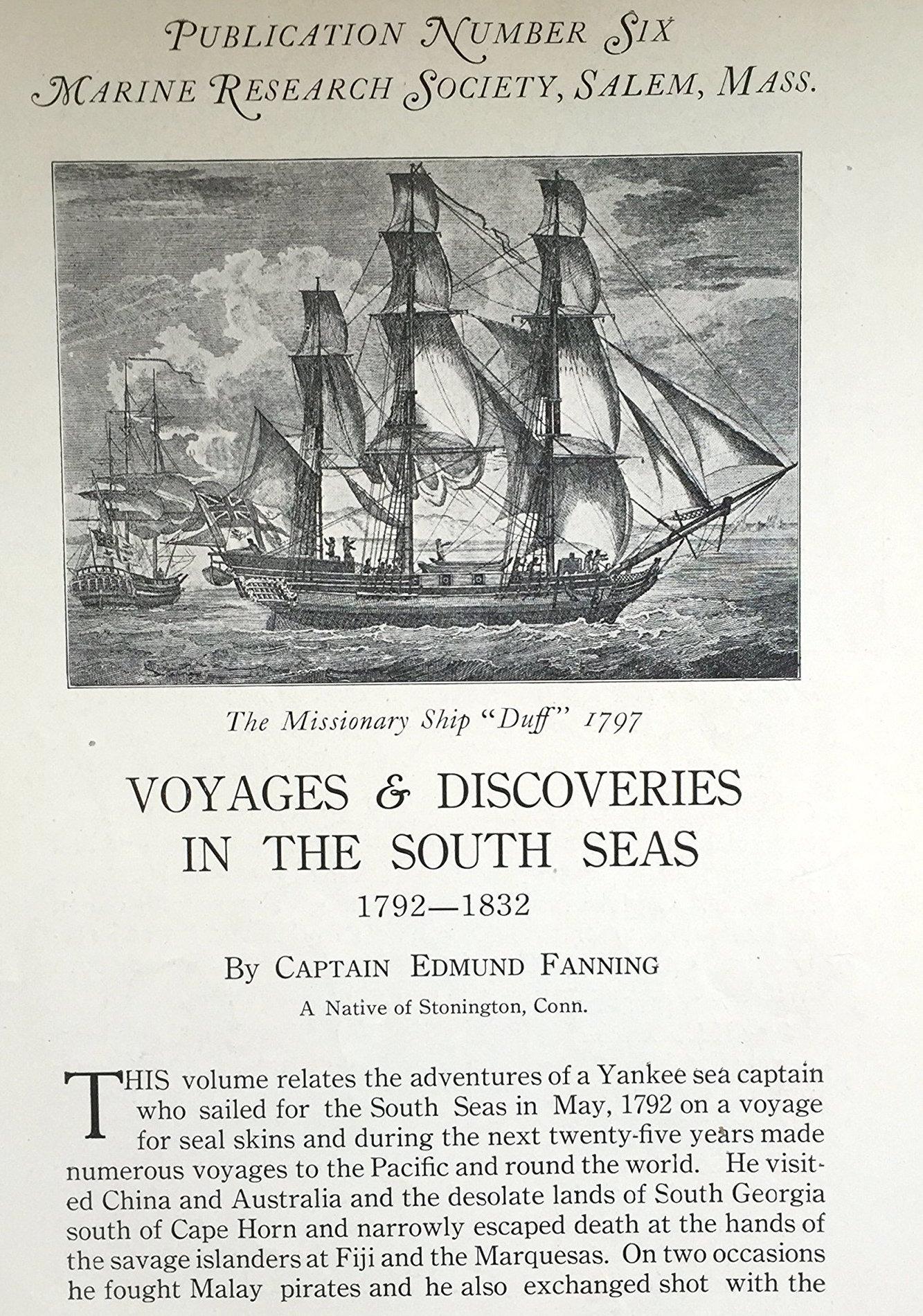 La première page du livre que Fanning consacra à ses aventures dans les Mers du Sud entre 1792 et 1832.
