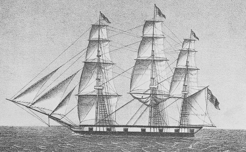 Une gravure ancienne représentant le Betsey, petit navire qui permit à Fanning de traverser le Pacifique d'est en ouest en 1797 et 1798. C'est à cette occasion qu'il découvrit trois atolls.