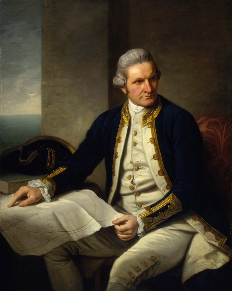 James Cook par Nathaniel Dance-Holland (1776). National Maritime Muséum UK.