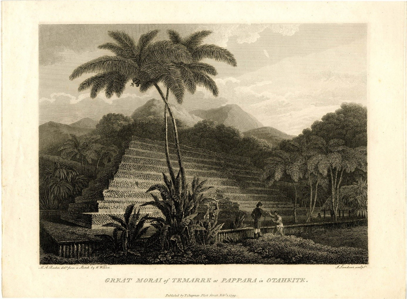 Le grand marae de Papara d'après un dessin de W.Wilson. M.A Rooker.