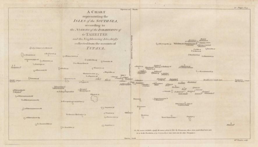 La carte de Tupaia. (Collection British Library).