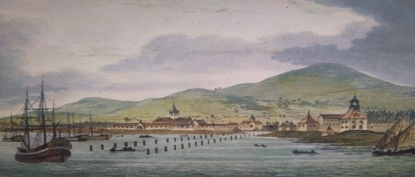 Vue de Batavia, par Sydney Parkinson. (Collection British Library).