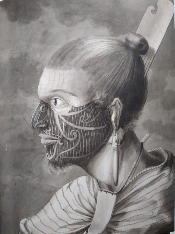 Profil d'un Maori tatoué. Sydney Parkinson. (Collection British Library).
