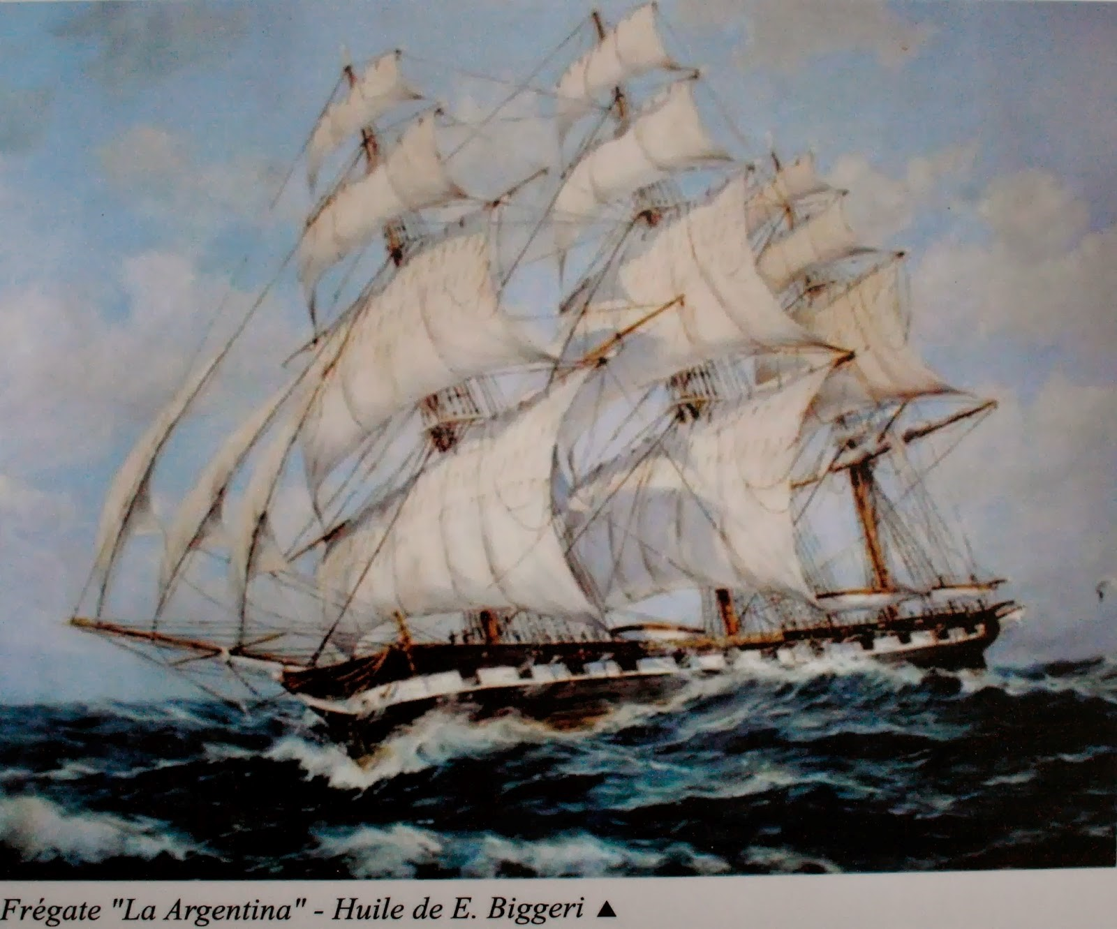 La Argentina, le trois mâts avec lequel Bouchard réalisa la première circumnavigation de l'histoire de l'Argentine.