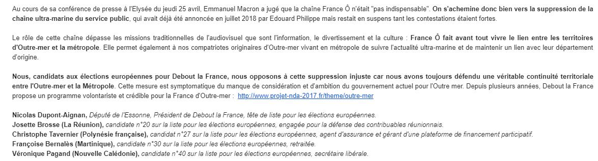 """Européennes : Dupont-Aignan et son candidat de """"Polynésie française"""""""
