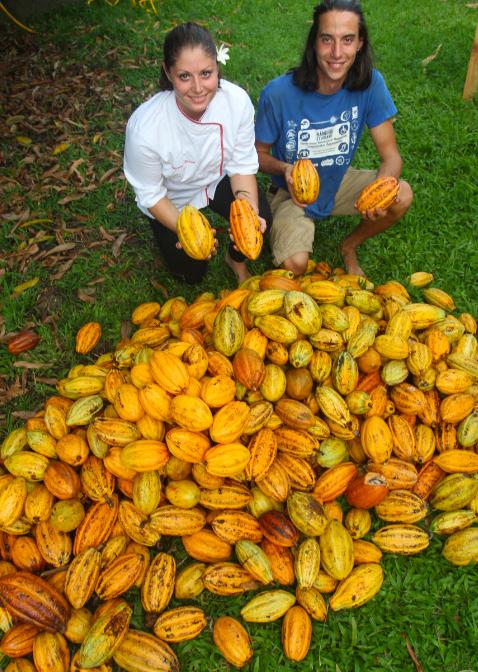 Morgane et Manutea devant la récolte d'une journée ; objectif : bientôt huit tonnes de chocolat « made in Tahiti ».