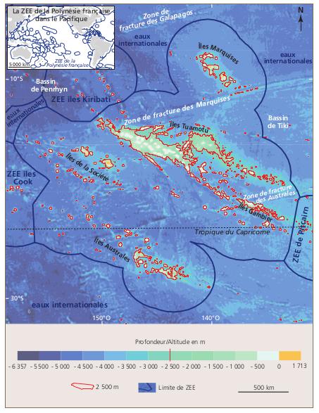 """Les zones les plus prometteuses sont localisées dans les parties nord-est et sud-ouest du plateau des Tuamotu, et secondairement vers la chaîne des monts sous-marins Tarava (au sud des îles de La Société)"""", décrit l'étude publiée en 2016."""