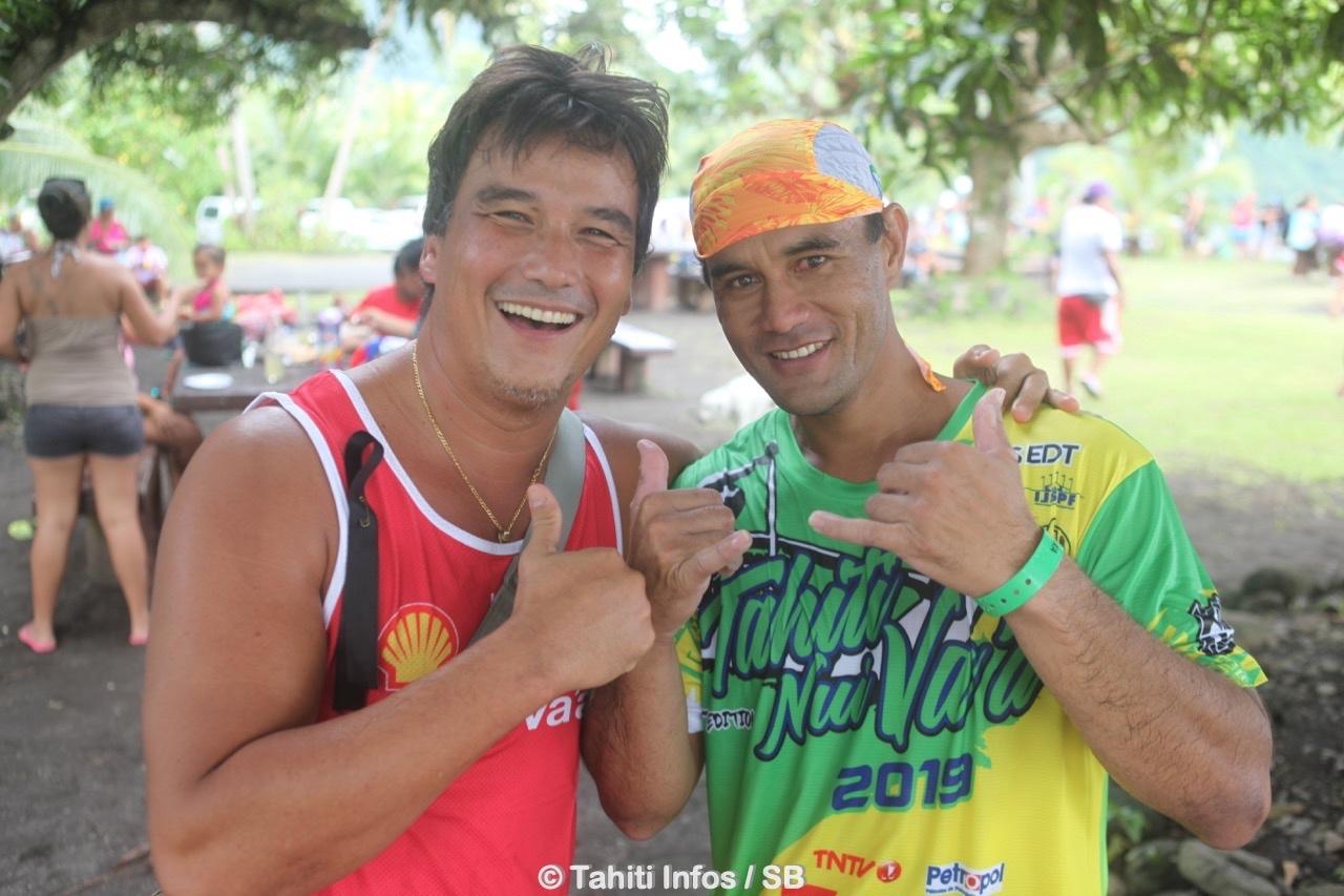 Patrick Moux et David Tepava, coach et barreur de Shell Va'a