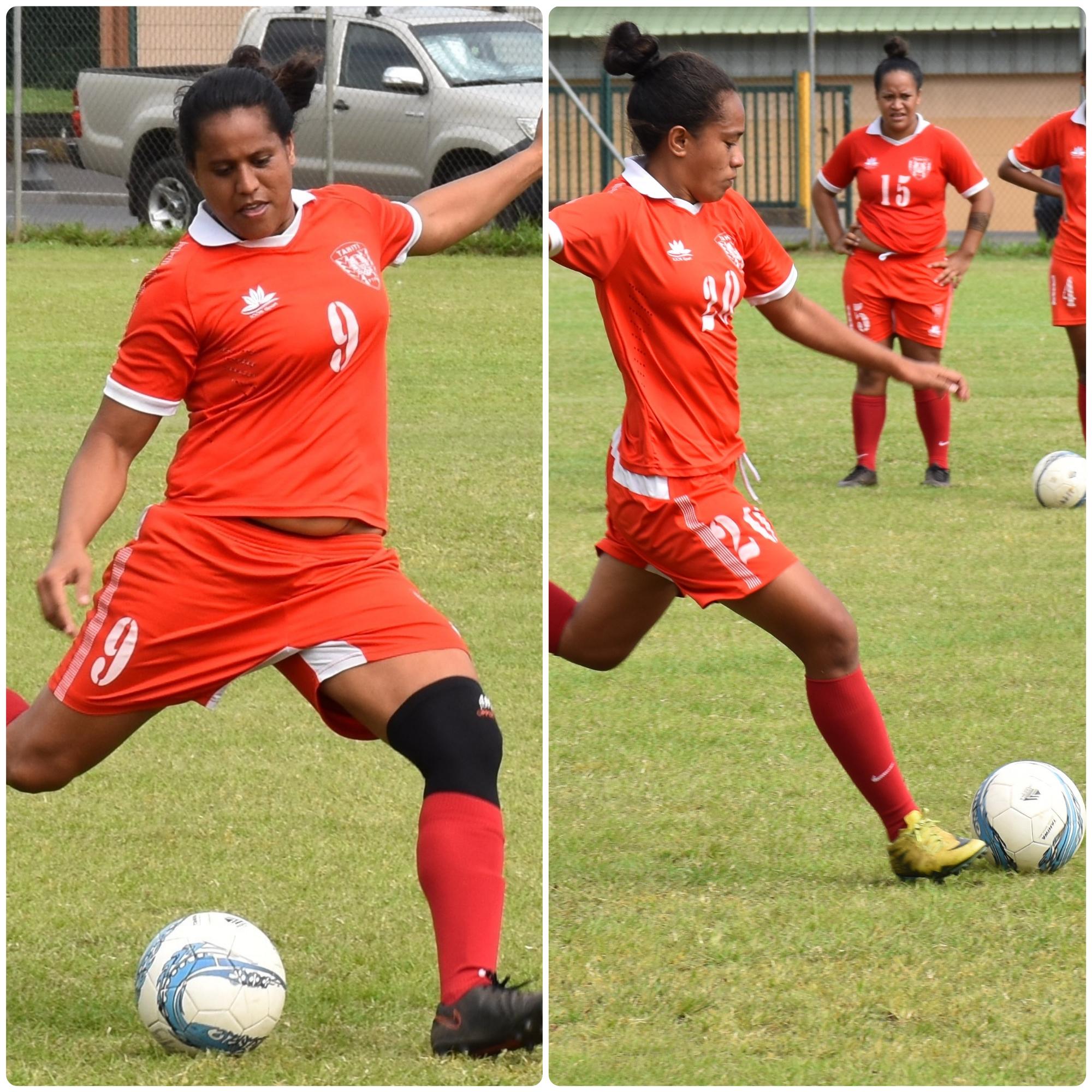 Heimiri Alvarez (à gauche), et Hioe Ninauea (à droite) font partie des têtes d'affiches du football féminin à Tahiti.