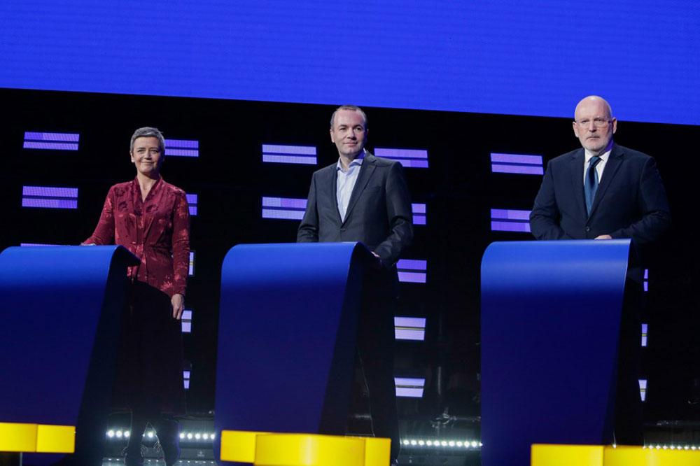 Margrethe Vestager, Manfred Weber et Frans Timmermans.