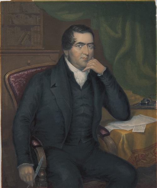 Un portrait du missionnaire John Williams avant son retour dans le Pacifique Sud ; son débarquement à Erromango lui sera fatal.