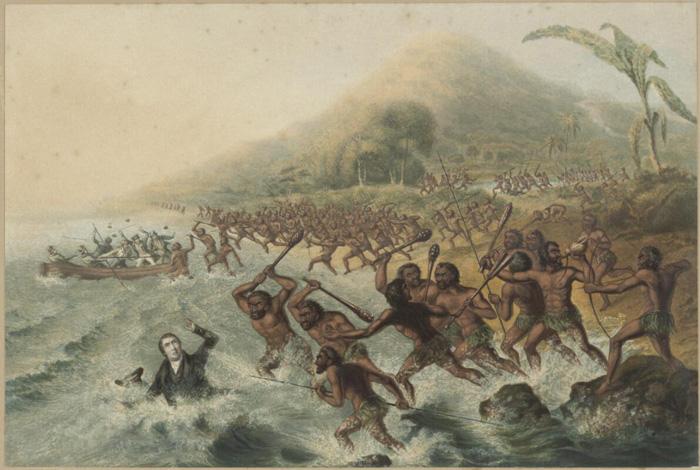 Peinte au XIXe siècle, la mort du révérend Williams et de son assistant Harris eut un large écho dans le monde protestant.