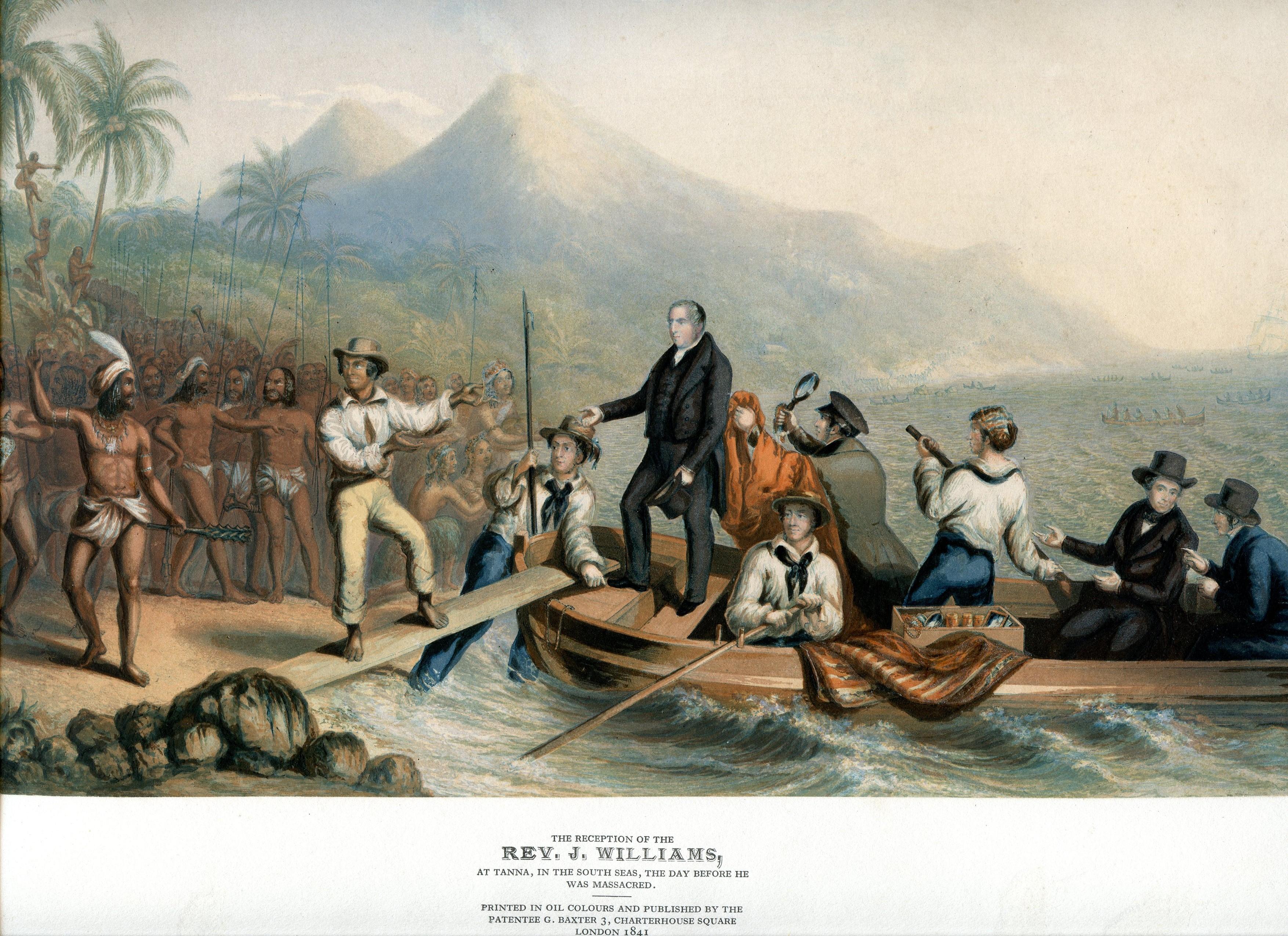 A Tanna, où il s'était rendu, l'accueil du missionnaire John Williams fut nettement plus cordial que celui qui lui fut réservé à Erromango.