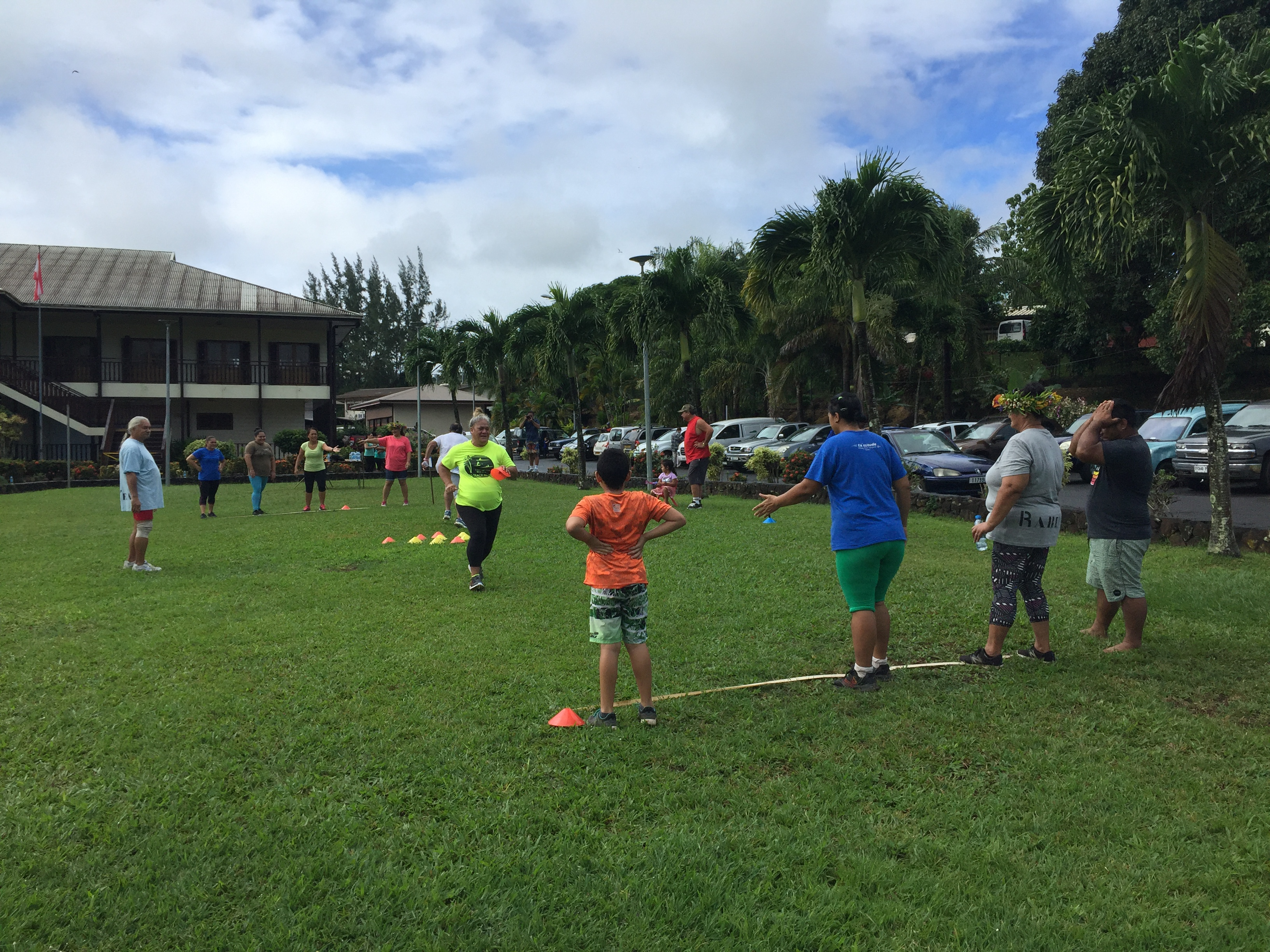La première rencontre sportive de l'association a eu lieu samedi 6 juillet dans les jardins de la Mairie de Taravao. Crédit Rahu'ea.