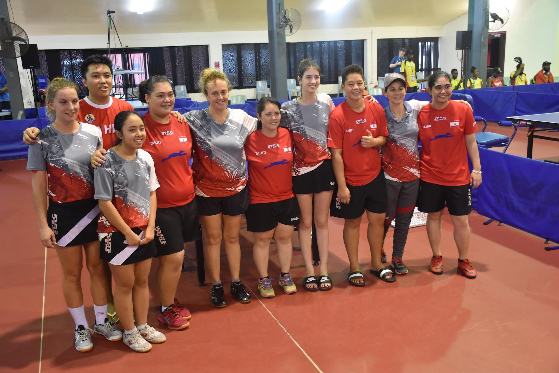 Manihei Maui, Cyrine Sam et Heimoe Wong ont défendu les couleurs du fenua en tennis de table chez les femmes.