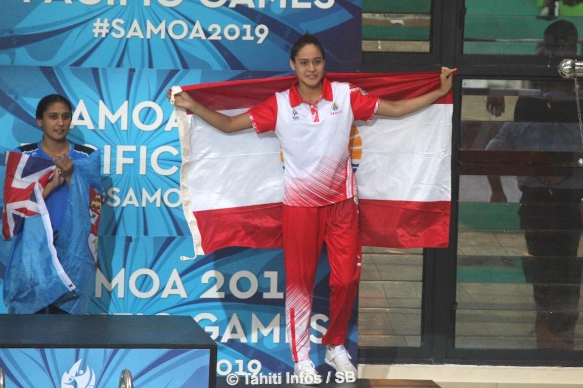 Poerani Bertrand médaillée de bronze sur le 50 m brasse ce jeudi, après son titre mardi sur le 200 m brasse.