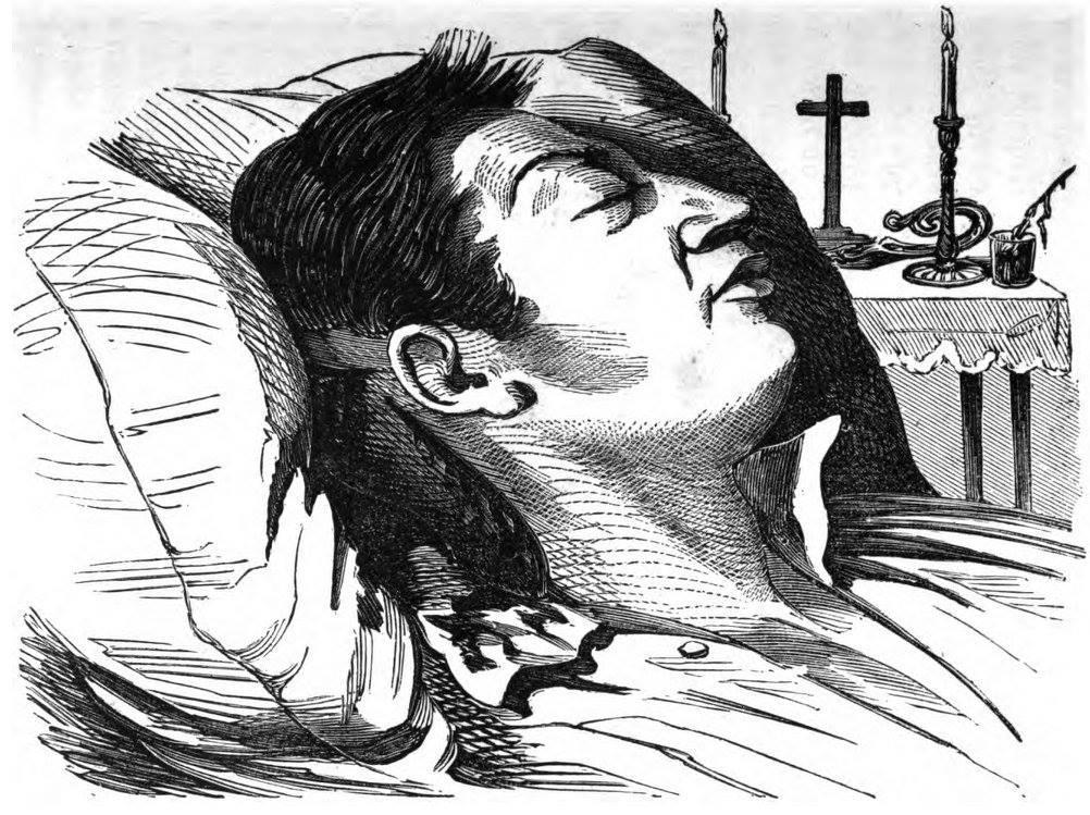 Gravure ancienne, forcément très approximative, de Mgr Epalle sur son lit de mort. Par décence, ses blessures ne sont pas montrées.