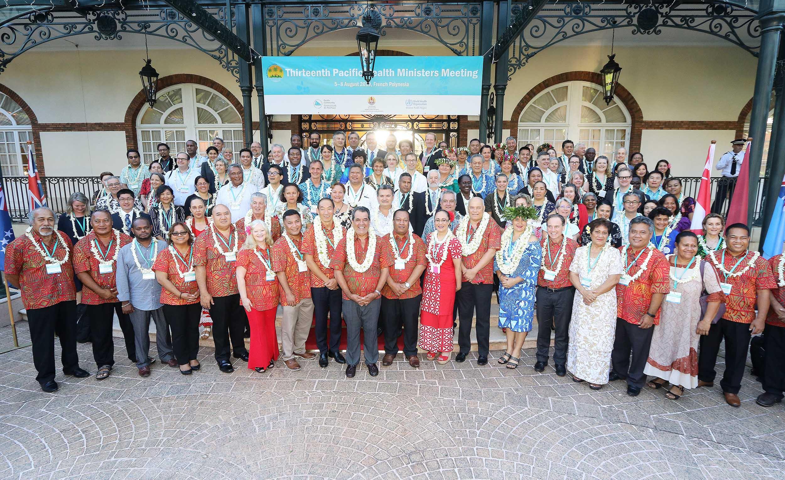 Vingt-quatre délégations, comprenant 22 Etats de la zone et deux organisations internationales -la communauté du Pacifique et l'OMS- sont réunies à Papeete pour aborder les grandes questions communes en matière de santé qui se posent pour ces pays. Crédit Présidence de la Polynésie française.