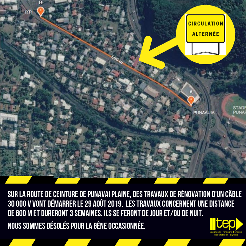 Circulation alternée sur la route de ceinture au PK 14