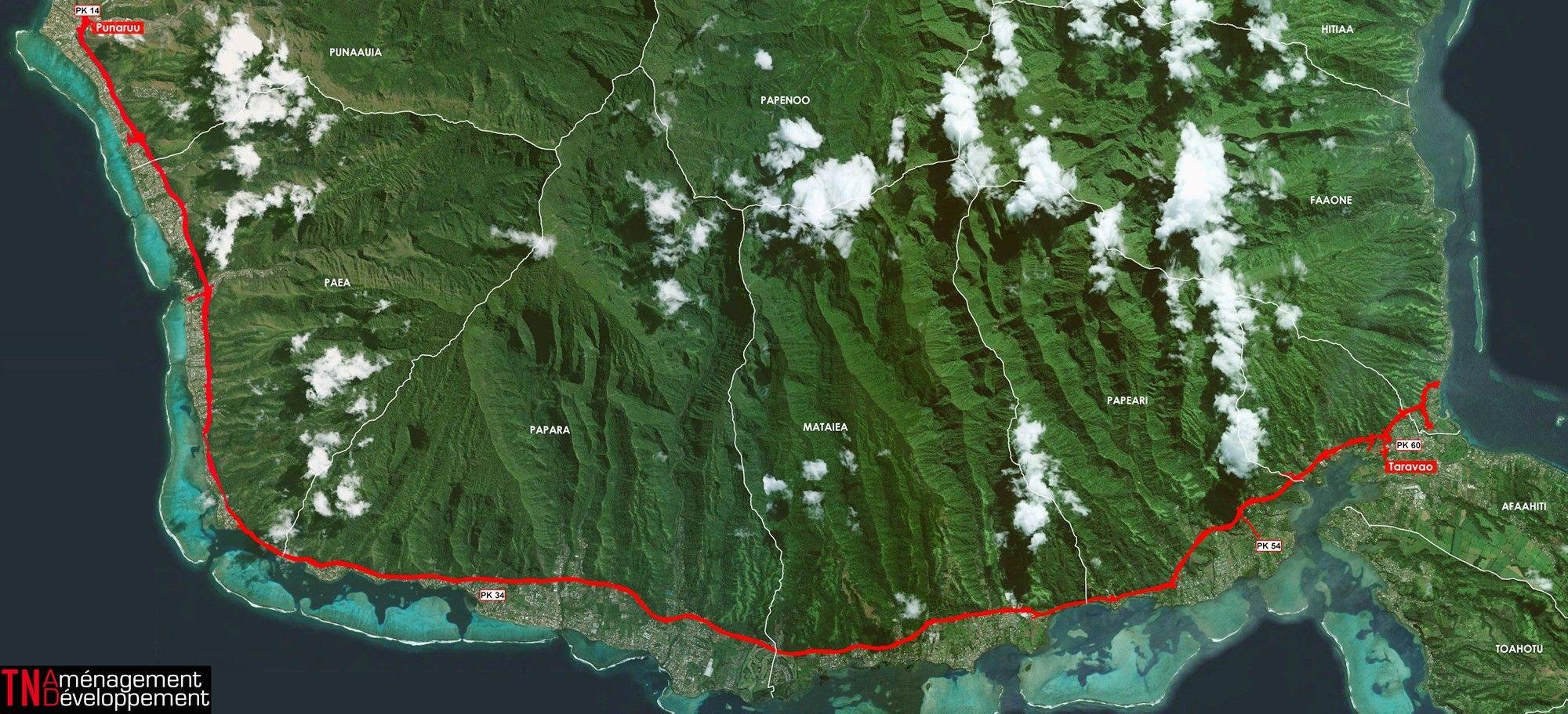 La Route du sud doit relier Punaauia à Taravao. Il s'agit d'une 2x2 voies dans la continuité de la RDO et de la route des plaines.