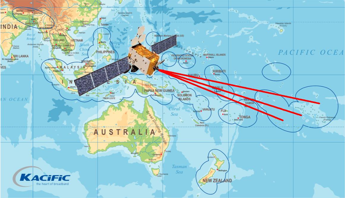 Le satellite Kacific-1 sera installé en orbite au-dessus de la Papouasie. Des faisceaux en bande Ka couvriront les différents archipels du Pacifique. Trois de ces faisceaux couvriront la presque totalité de la Polynésie française.