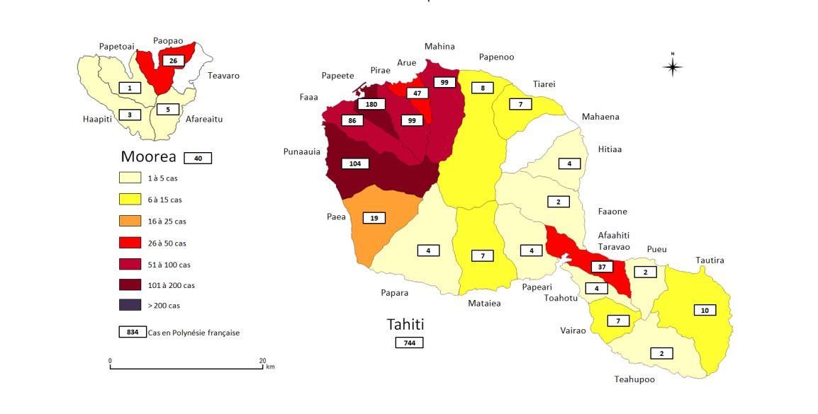Le nombre de cas constaté de dengue de type 2 constaté à Tahiti et Moorea depuis février 2019.