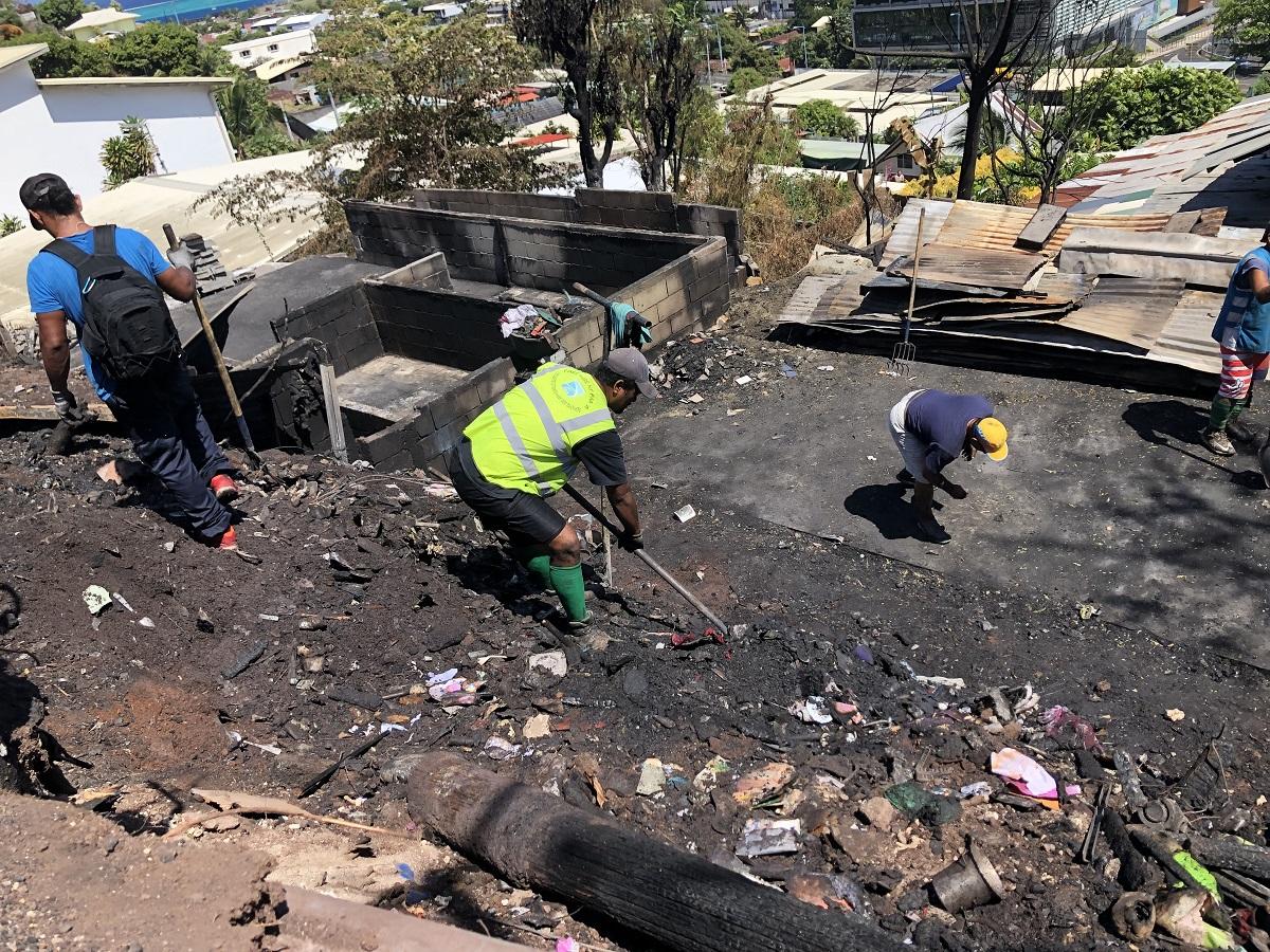 Les services techniques de la commune de Faa'a ont dégagé hier les derniers débris.