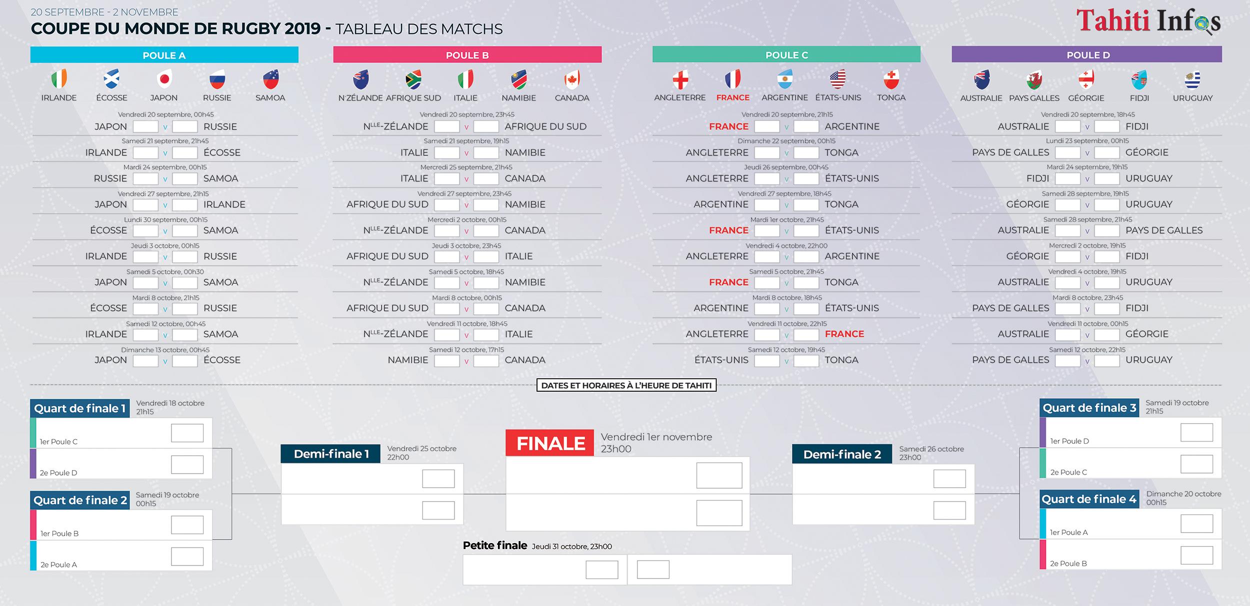 Calendrier Coupe.Coupe Du Monde De Rugby Tous Les Horaires De Diffusion Tv