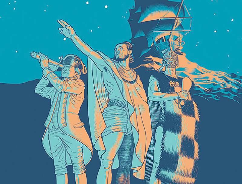 Un dessin de Mat Tait représentant Tupaia (au centre), le capitaine James Cook (à gauche), et un guerrier maori (à droite).