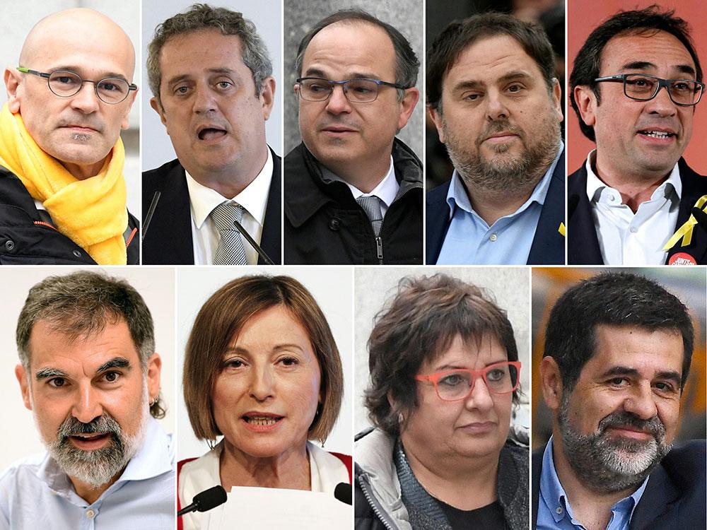 De haut gauche à bas droite : Raul Romeva, Joaquim Forn, Jordi Turull, Oriol Junqueras, Josep Rull, Jordi Cuixart, Carme Forcadell, Dolors Bassa et Jordi Sanchez.