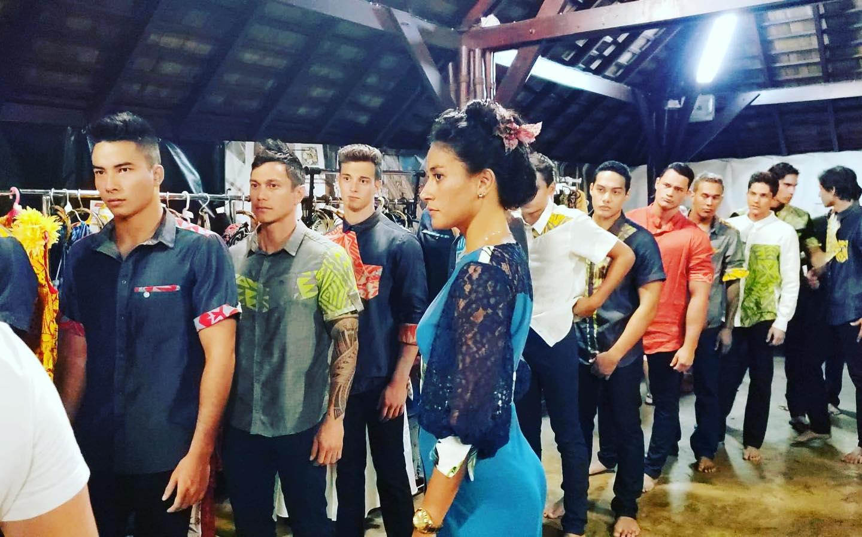 Lors de la Tahiti Fashion Week 2019, collection hommes de Natuarai.