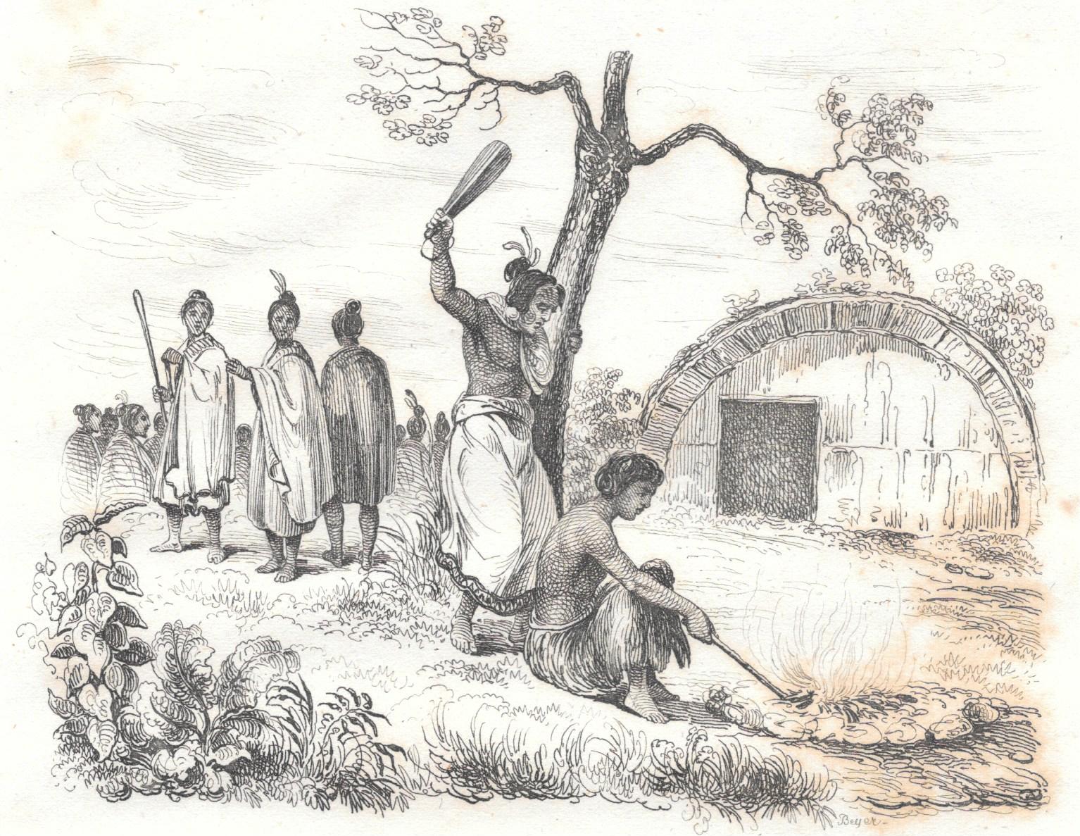 Pour de multiples raisons, dont des motifs cultuels, les Maoris pratiquaient des sacrifices humains et dévoraient les sacrifiés ; cette gravure représente la mise à mort d'une victime.