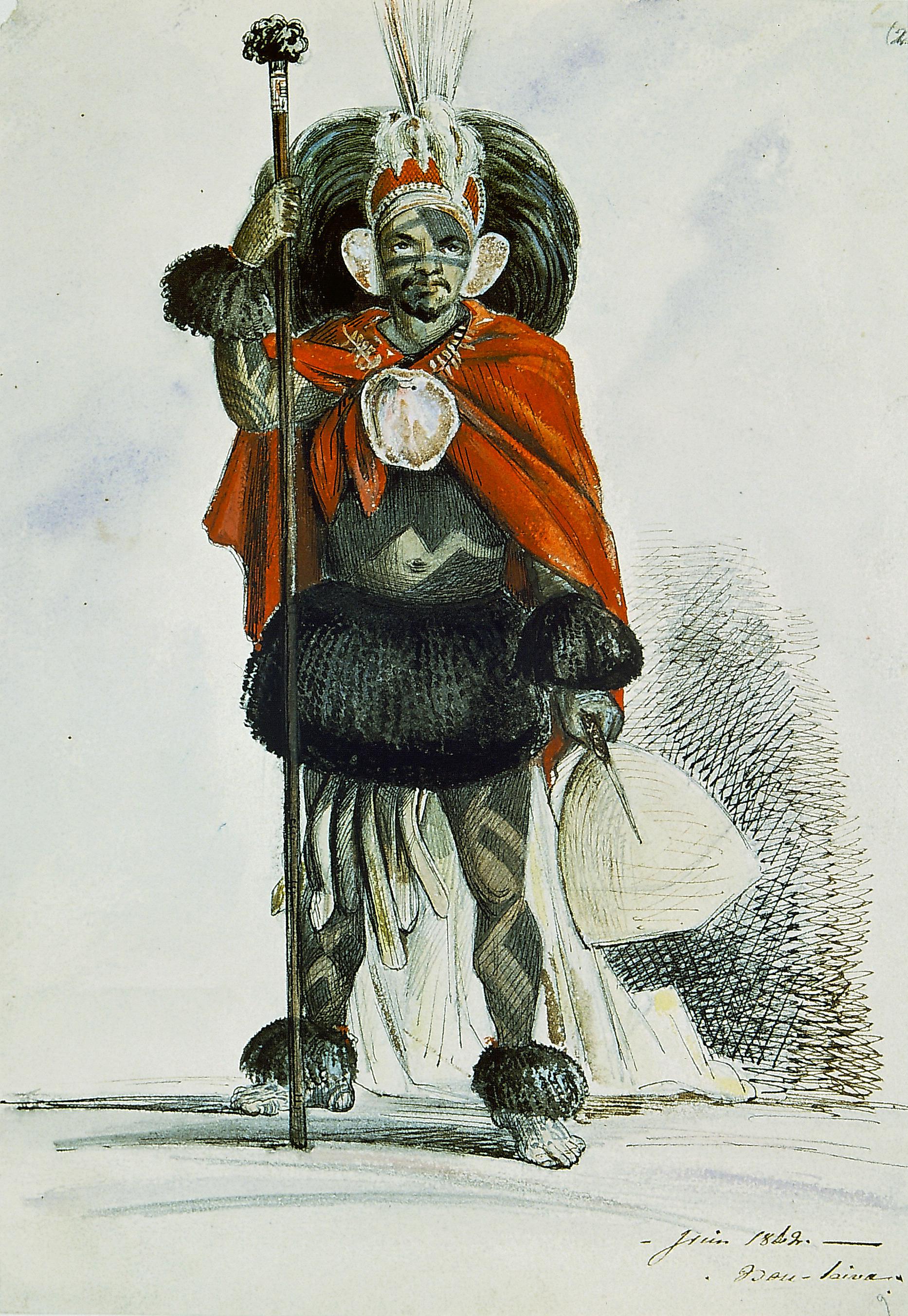 Un guerrier ou un danseur dans sa tenue d'apparat. « Tous les guerriers étaient presque uniformément vêtus » note Radiguet ; « leur coiffure se composait du tavaha qui, plus haut que les bonnets à poil de nos grenadiers, développait au-dessus de la tête son large éventail de plumes d'un vert sombre. (...) Au dessus de cet ornement (...) pareilles aux pistils des fleurs, de longues aigrettes de plumes de phaéton, à brins blancs et rouges ».